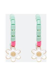 Argola Com Miçangas Coloridas E Pingente De Flor | Accessories | Multicores | U