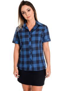Camisa Pimenta Rosada Sthephanie Xadrez Azul