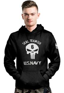 Casaco Com Capuz Punisher Seal Team Six Us Navy Bordado - Masculino