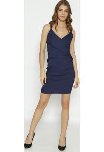 Vestido Liso Texturizado - Azul Marinho- Moiselemoisele