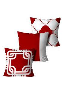 Kit 3 Capas Para Almofadas Decorativas Vermelho 45X45Cm