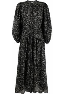 Isabel Marant Étoile Ruched Floral-Print Dress - Preto