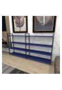 Aparador Industrial Aço Cor Preto 180X30X98Cm (C)X(L)X(A) Cor Mdf Azul Modelo Ind55Azapr