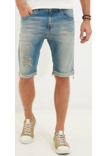 Bermuda Clássica Clearwater 3D Jeans Azul Masculina (Jeans Medio, 38)