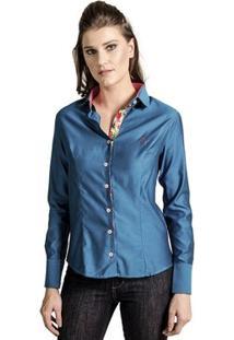 Camisa Carlos Brusman Feminina Slim Reta - Feminino-Azul
