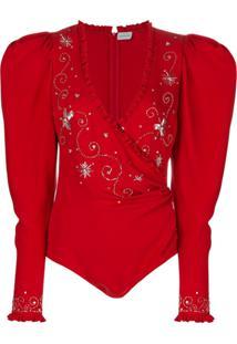 Magda Butrym Embroidered Bodysuit - Vermelho