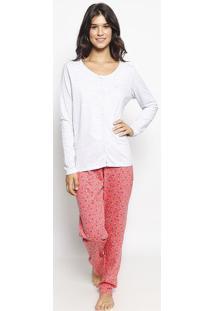 Pijama Floral Mescla - Cinza & Rosamalwee