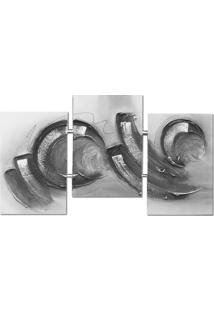 Quadro Artesanal Trio Com Textura Abstrato Preto Uniart