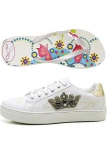 Kit Tênis Coroa + Chinelo Top Franca Shoes Feminino - Feminino-Branco
