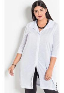 e8f29f5d01fab2 Posthaus Camisa Branca Feminina Fenda Plus Size Com Fendas Manga Curta  Alongada