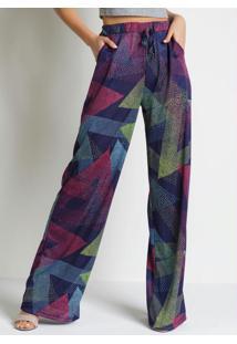 Calça Poá Azul Pantalona Com Bolsos Funcionais