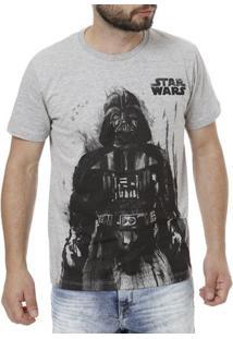 Camiseta Manga Curta Masculina Star Wars Cinza
