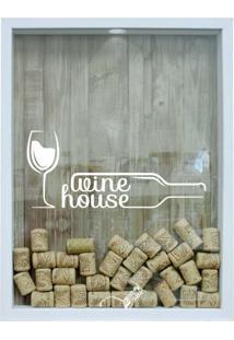 Quadro Porta Rolhas 32X42X4Cm Wine House Branco I