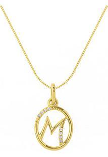 Pingente Letra M Ouro Amarelo E Diamantes 15 Mm