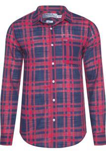 Camisa Masculina Xadrez Rústica Navy - Vermelho