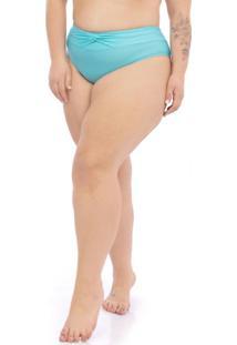 Calcinha Detalhe Cós Plus Size Azul