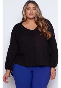 Camisa Almaria Plus Size Pianeta Viscose Preto