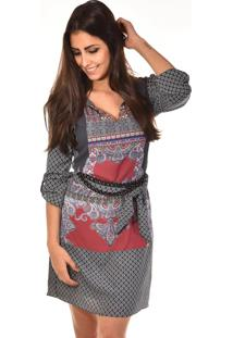Vestido Curto Banca Fashion Alice Casual Chique Cinza