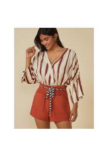 Amaro Feminino Blusa Cropped Transpasse Frente, Brush Stripe Off