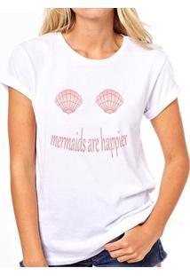 Camiseta Coolest Mermaid Are Happier Feminina - Feminino-Branco