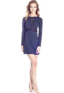 Vestidoanga Longa Colcci - Feminino-Azul Escuro