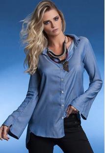 Camisa Manga Flare Chambray Azul -Gg