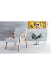 Poltrona Decorativa De Madeira Estofada Com Braços Charlie - Poltrona Para Recepção Cor Cinza Claro - Verniz Amendoa \ Tec.915 - 60X74X84 Cm
