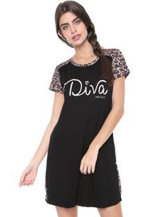 Camisola Any Any Curta Feline Diva Preta/Caramelo
