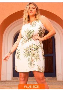 Vestido Floral Plus Size Bege