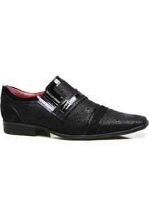 Sapato Social Couro Iod'S Com Textura Masculino - Masculino-Preto