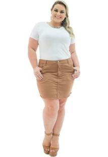 Saia Confidencial Extra Plus Size Jeans Curta Caramelo Com Elastano Feminina - Feminino-Marrom