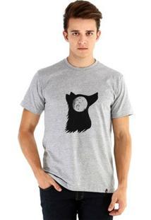 Camiseta Ouroboros Manga Curta Moon Masculina - Masculino-Cinza