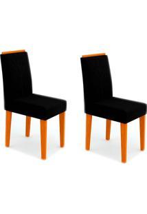 Conjunto Com 2 Cadeiras Amanda Ii Ipê E Preto