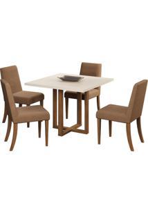 Conjunto De Mesa C/ 4 Cadeiras Italia – Volttoni - Nogueira / Of White