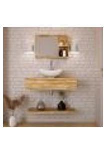 Conjunto Para Banheiro Bancada Com Cuba L42 Abaulada, Prateleira E Espelheira City 806 Carvalho