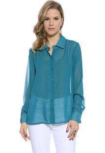Camisa Manga Longa Moché Feminina - Feminino-Azul Petróleo
