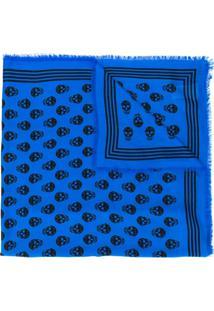 Alexander Mcqueen Xale Com Estampa De Caveira - Azul