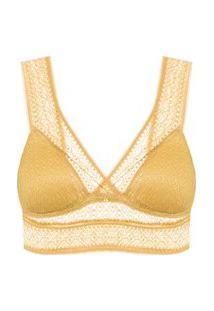 Sutiã Triângulo Top Com Bojo Removível - Amarelo