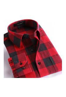 Camisa Xadrez Masculina Slim Fit Alabama - Vermelho E Preto