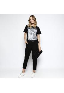 Camiseta ''Don'T Resist Sound'' Com Rasgados - Preta & Bcoca-Cola