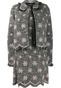 Giambattista Valli Jaqueta De Tweed Com Bordado Floral - Preto