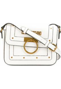 Love Moschino Bolsa Transversal Com Placa De Logo E Detalhe De Tachas - Branco