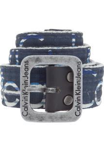 Cinto Calvin Klein Listras Azul-Marinho