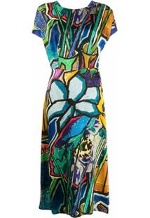 Paul Smith Vestido Midi Com Estampa - Azul