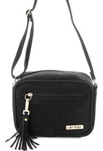 Bolsa Mini Bag Feminina Alça Transversal Zíper Lisa Casual - Feminino-Preto