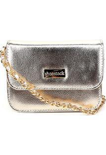 Bolsa Shoestock Crossbody Média Feminina - Feminino-Dourado