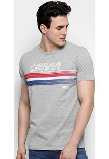 Camiseta Calvin Klein Retrô Listra Masculina - Masculino
