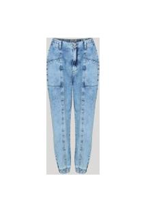 Calça Jeans Feminina Jogger Cintura Alta Com Recorte Azul Claro