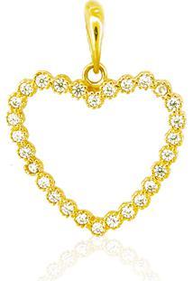 Pingente Coração Ouro 18K Pedras Vj6333