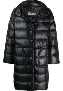 Herno Concealed Fastening Padded Coat - Preto